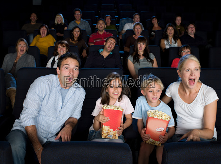 a family watching a movie