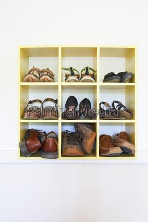 shoes in a shelf