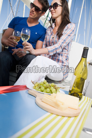 couple having lunch on a boat