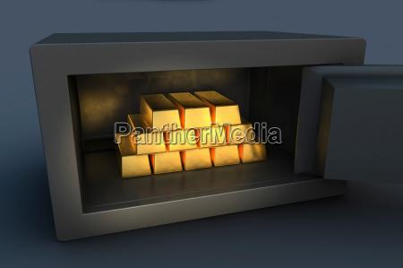 gold ingots inside open security safe