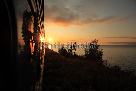 trans siberian express at sunrise