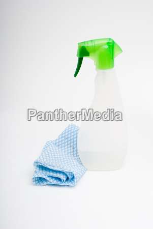 cleaning spray and cloth