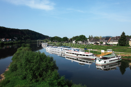 tour boats moored on the rhine