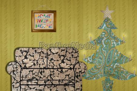 living room with sofa and christmas