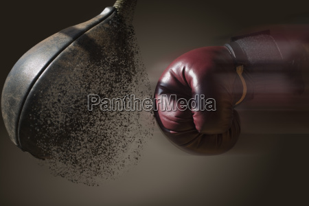 close up boxer and punch bag