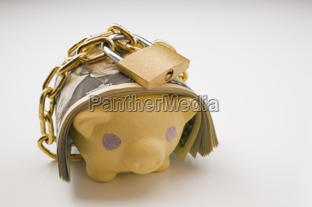 piggy bank with bank notes and