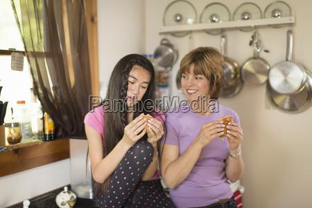 mid adult woman and teenage girl