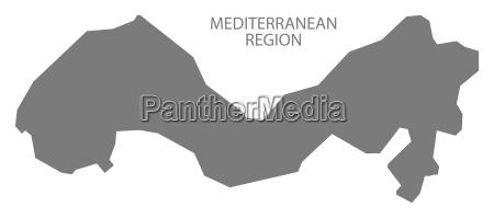 mediterranean region turkey map grey