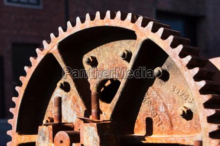 close up detail of rusting cogwheel