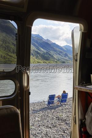 view from camper van doorway of