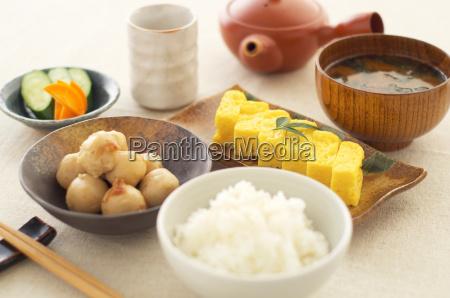 still life of japanese dumplings omelette