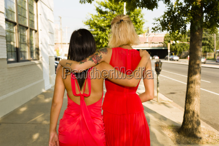 rear view of two young women