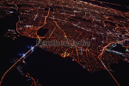 aerial view of miami at night