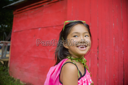 portrait of young asian girl looking