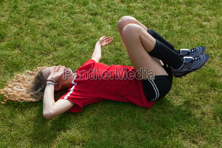 girl soccer player with injury