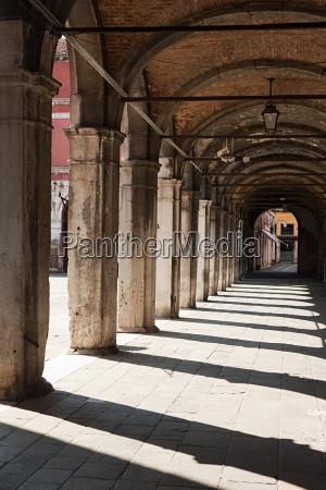 portico of fabbriche nuove venice italy