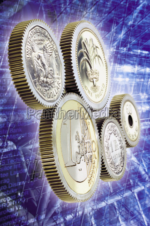diverse currencies functioning with the euro