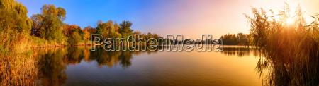 sunset on a lake a panorama