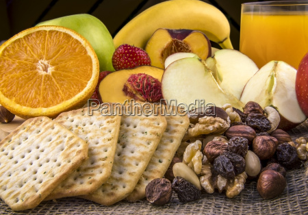 breakfast with fruits and nuts