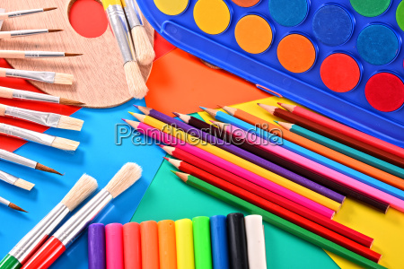 composition with school accessories for painting