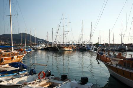 sailboats in kalkan harbour turkey