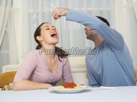 couple eating spaghetti
