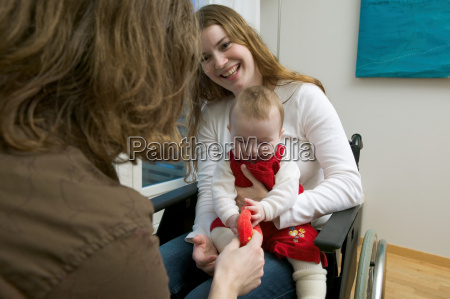 disabled woman with baby