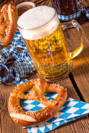 oktoberfest pretzel and beer