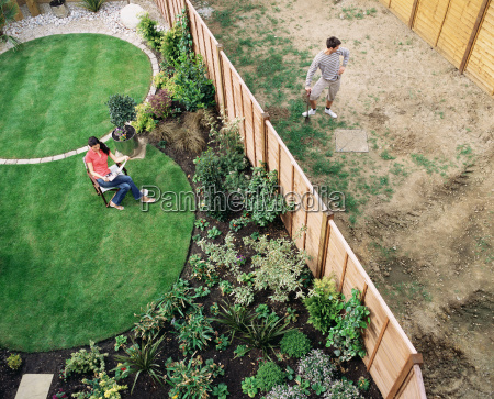 neighbours in their gardens