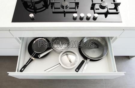 saucepans in draw under hob