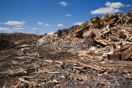 pile of discarded wood at waste