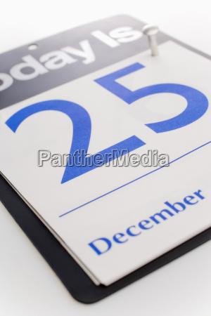 december 25th calendar date