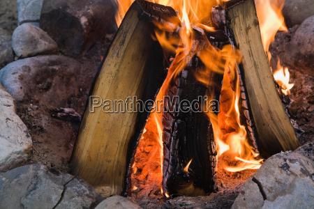 camp fire close up