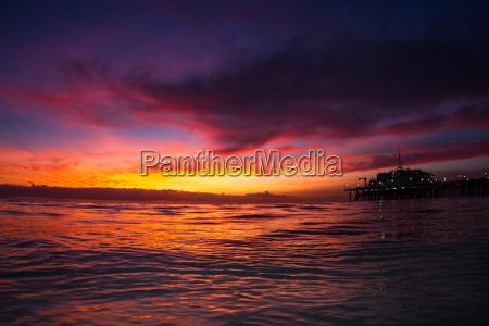 santa monica pier and ocean sunset
