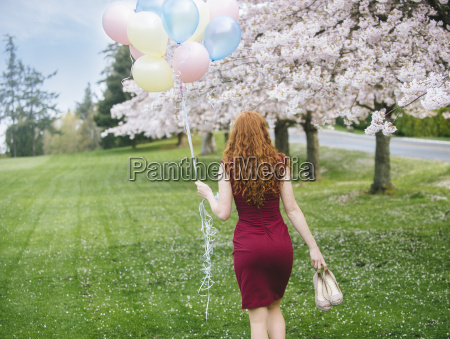 rear view of young woman with