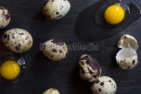 overhead view of quail eggs and