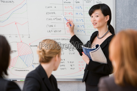 young woman giving lecture