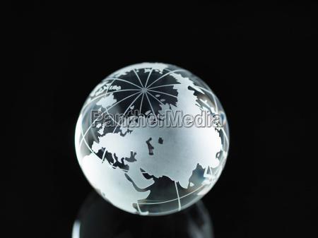 glass globe illustrating asia india china