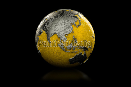 yellow and black globe asia and