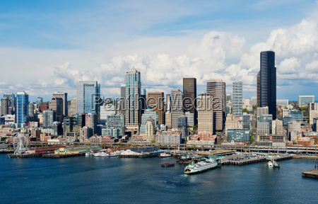 aerial view of seattle waterfront washington