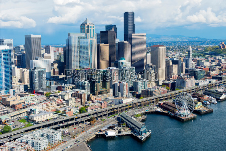 aerial view of seattle waterfront and