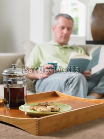 mature man resting at home