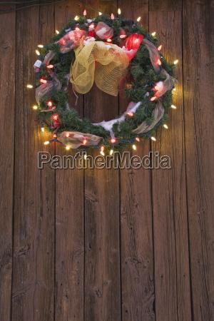 christmas wreath with christmas lights on