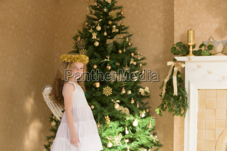 girl dressed as an angel at