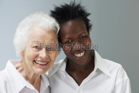 head shot of senior woman and