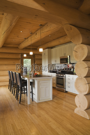white kitchen cabinets and island and