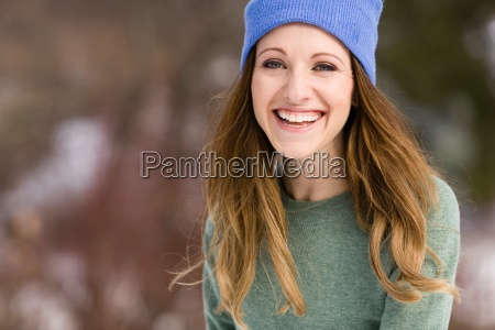 portrait of happy young woman wearing