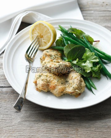 plate of wholemeal chicken with crusted