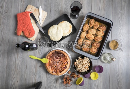 freshly baked food and cooking equipment