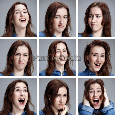 set of young womans portraits with
